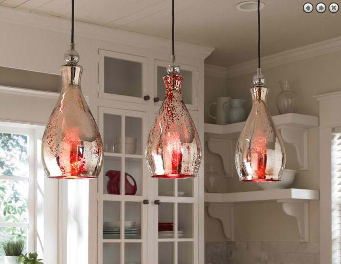 Sardinia 1 #Light Pendant. Red mercury glass with plated chrome #accents. #LightsandLamps #HomeDecor #accentfurniture #ArtFurniture #CarolynKinder