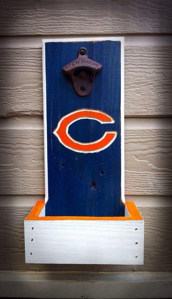Chicago Bears Bottle Opener with Cap Catcher by TreyColeCreations