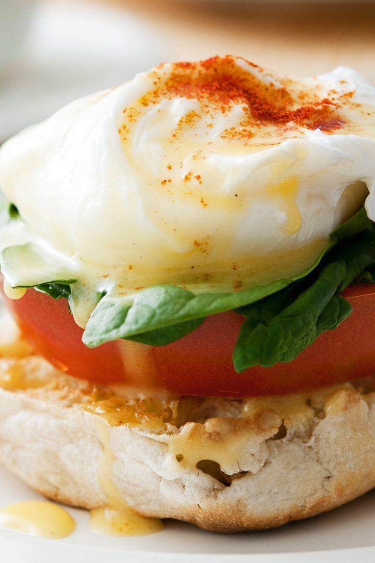 Weight Watchers Eggs Benedict Recipe with Canadian Bacon, Greek Yogurt, Dijon Mustard, and Lemon Juice - 6 WW Points