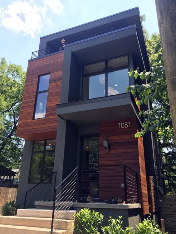 A Home. Modern. Design. Wood & Glass. Black & Brown. Clean. Industrial. 1081. Nature. Boxes. House. New. Steel.