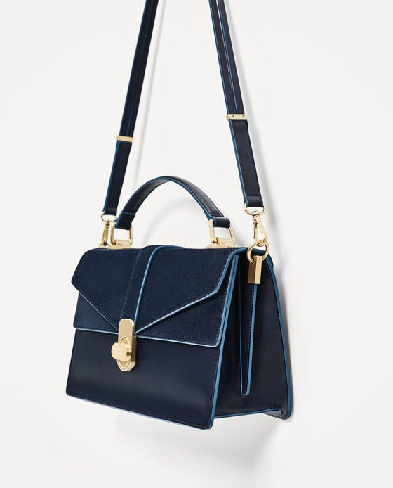 Image 4 of CITY BAG WITH SPLIT SUEDE FLAP from Zara