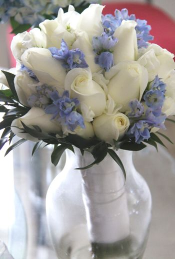 White Roses and Periwinkle Delphinium.  Beautiful for a bouquet or centerpiece.