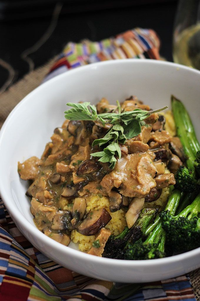Vegan Seitan and Mushrooms with Polenta recipe
