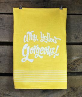 Why Yellow Gorgeous Yellow Flour Sack Towel by B.Haven - contemporary - dishtowels - by Etsy