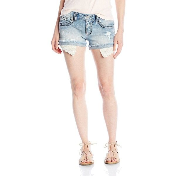 Miss Me Women's Lacey Sunday Shorts ($61) ❤ liked on Polyvore featuring shorts, miss me shorts, jean shorts, short jean shorts, denim shorts and lace jean shorts