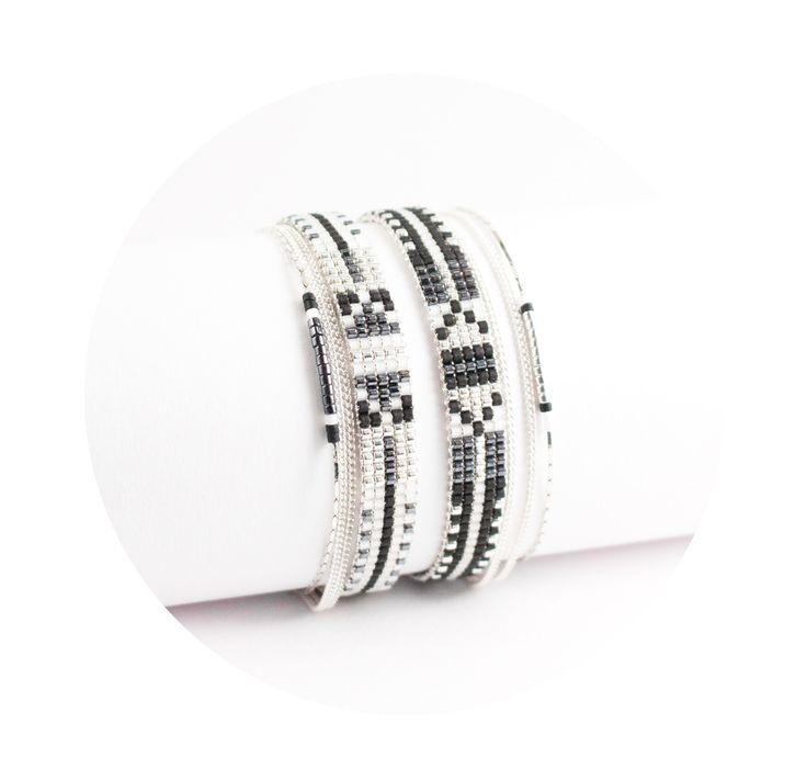 Bracelet tissé en perles miyuki / Perles argentées plaquées Argent 925 / noir et…