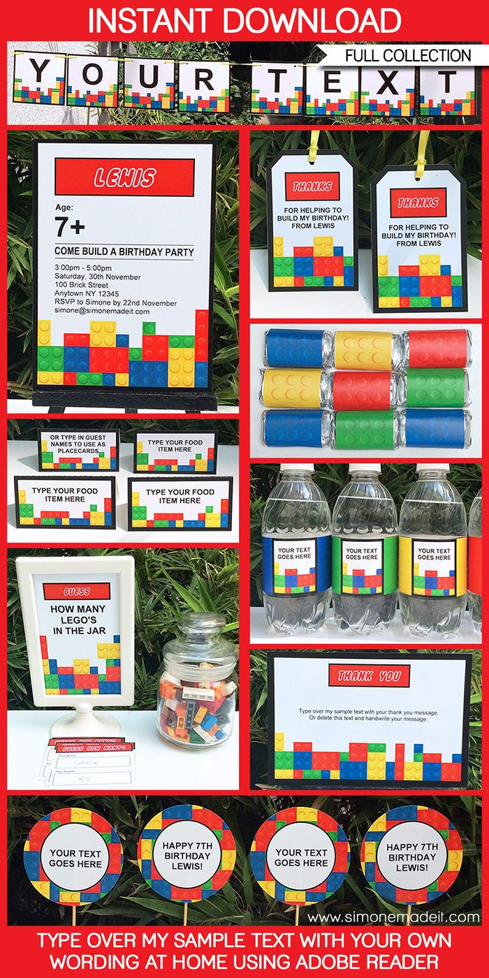 Lego Party Printables, Invitations & Decorations | Editable Birthday Party Theme Templates | INSTANT DOWNLOAD $12.50 via SIMONEmadeit.com