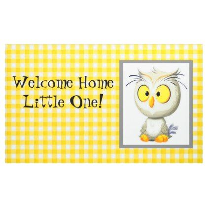 Oliver Owl Yellow & White Welcome Home Banner - baby gifts child new born gift idea diy cyo special unique design