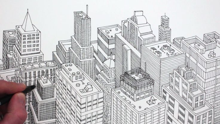 how to draw a realistic city