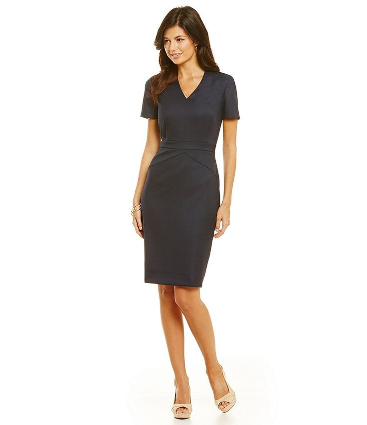 Navy And Black Glen Plaid Dress Office Chic Work Wear Style Business Professional