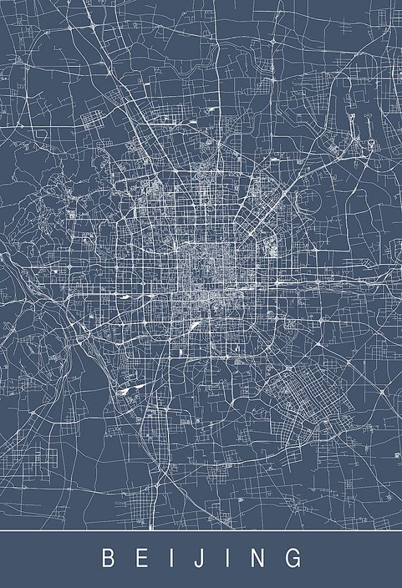 BEIJING CITY MAP – Line Art City Map – Road Map of Beijing Minimalist City Map China Map Wall Art Modern Design City Grid Poster Ribba – Chris To