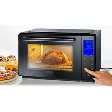 Bistro-Ofen mit Drehspieß Perfekt zum Braten, Grillen, Backen, Toasten, Auftauen, Erwärmen. In Minuten aufgeheizt. Spart Zeit und Energie.