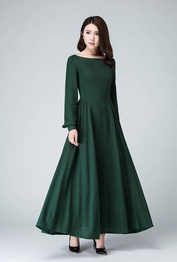 This Handmade linen dress is so Chic and feminine, Cracted with soft linen in green hues, fearturing pleated detail the the shoulder and waist, this fit and flare long dress will give you a perfect silhouette. Wear this long sleeve dress for your next party. DETAIL * Soft linen * A around collar * Back zipper * Has no pockets * Long Lantern sleeve * Pleated one the waist * Regular fit * Length approx 125 cm * Wash by hand or Machine with colde water SIZE GUIDE Available in women's US…