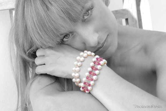 Ivory Pearls and Pink Crystal Bracelet Bridal by PiscesAndFishes
