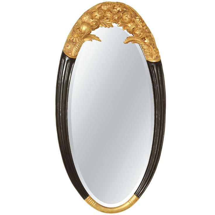 Sue et Mare Art Deco Large Oval Parcel-gilt & Black Lacquered Mirror | From a unique collection of antique and modern wall mirrors at https://www.1stdibs.com/furniture/mirrors/wall-mirrors/