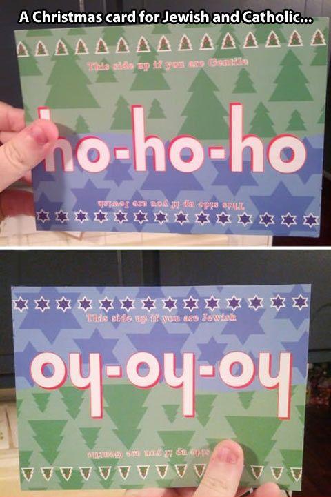 Lol  holiday card for Christian and Jewish people ! #Christmas #Hanukkah #Chanukah