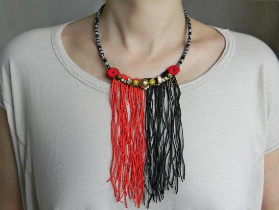 Long fringe necklace in red and black Ethnic fringe by Elyseeart