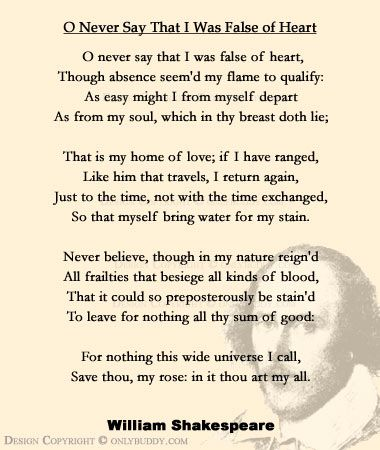 O Never Say That I Was False of Heart  Sonnet CIX by William Shakespeare