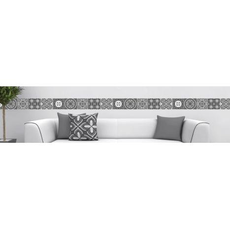 Frise adhésive repositionnable carreaux de ciment - frise imitation carreaux de ciment gris