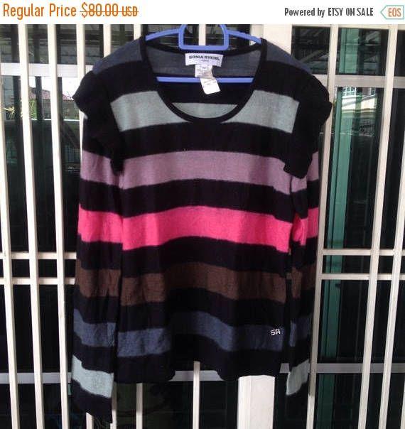 sale 20% Vintage 80s Sonia Rykiel Striped Women Tops Knitwear Long Sleeve by bintangclothingstore on Etsy https://www.etsy.com/listing/553488739/sale-20-vintage-80s-sonia-rykiel-striped