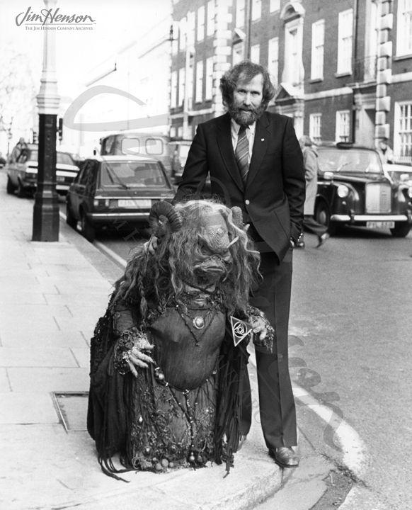 Jim and Aughra from The Dark Crystal in London, about 1981