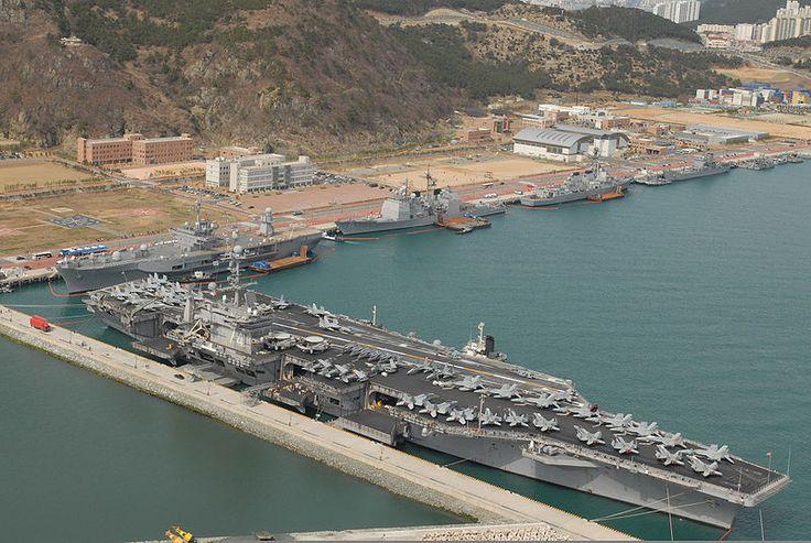 U.S. Navy ships of the John C. Stennis Carrier Strike Group, U.S. 7th Fleet flagship USS Blue Ridge (LCC 19) and ships from the Republic of Korea (ROK) are moored at ROK Navy Base Oryuk-Do in Busan, ROK. Seen from left are USS John C. Stennis (CVN 74), USS Blue Ridge (LCC 19), USS Antietam (CG 54) and USS Preble (DDG 88).