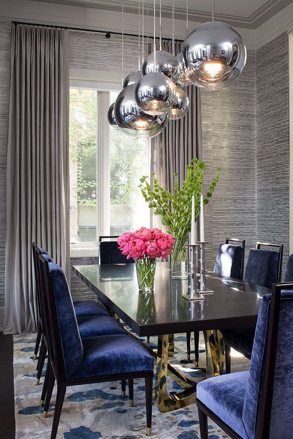 Interior designer Wendy Labrum featured Gilded Age 5762 Socialite Silver in the dining room of a client's home.