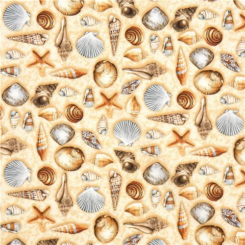 beige designer fabric with sea shell starfish from the USA