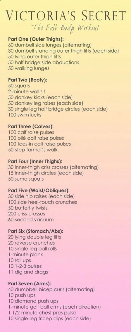 Victoria Secret Model Total Body Workout / Gunna Try this for a month to – Exercise