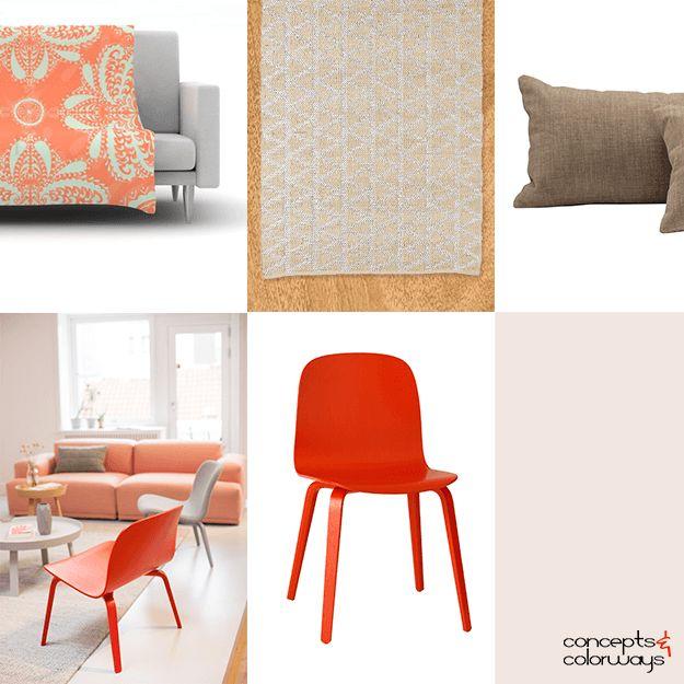 Peach And Gray Interior Design Idea Board Pantone Echo Reddish Orange Modern