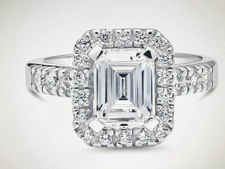 A Perfect 2.2CT Emerald Cut Russian Lab Diamond Halo Ring