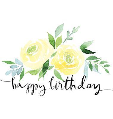 Watercolor yellow roses vector happy birthday - by Karma3 on VectorStock®