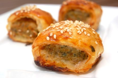 Mini-saucijzenbroodjes - Dutch recipe. Ground meat flavored with nutmeg, basically dutch meatball , wrapped in puff pastry and baked till golden. Delicious. One of the first dutch treats my husband fed me.