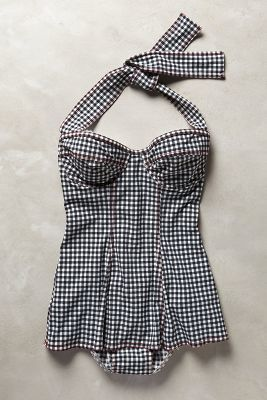 Karla Colletto Skirted Gingham Maillot #anthrofave
