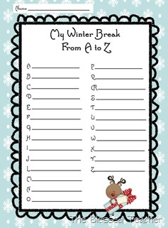 Winter Break A to Z: Work on vocabulary by finding words to describe winter break that follow the alphabet!