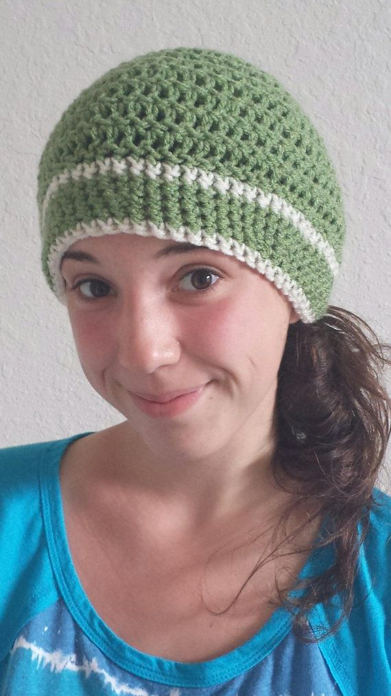 1d3060a50c2 ... wholesale light green crocheted cap w cream stripes works with spring  or fall colors f2e41 7fdba
