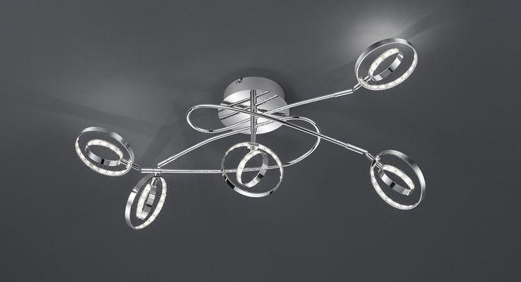Prater kattovalaisin 5-os. LED 5x4 W    Lampun tyyppi: 5 × SMD 4 W  LED (sis.toimitukseen)  Jännite: 230V  Valoteho: 5 x 400 lumenia  Valon sävy: 3000 kelviniä (lämmin valkoinen)  Kotelointiluokka: IP20 (kuivaan tilaan)  Rungon materiaali: Metalli  Rungon väri: kromi  Korkeus: 42 cm  Pituus: 62 cm  Leveys: 46,5  Takuu: 5 vuotta