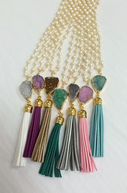 Pearl Druzy Necklace With Tassel