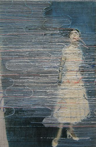 'works on paper #30' (2012) by Dutch artist Hinke Schreuders. yarn on paper on canvas. via the artist's site sudsandsoda