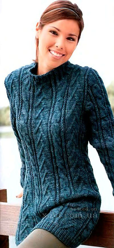 узорчатый пуловер цвета морской волны