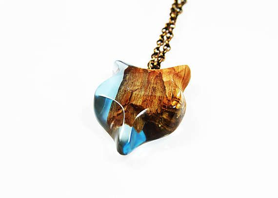 Wooden necklace with resin  blue fox Resin Wood Fox resin necklace pendant gift unique