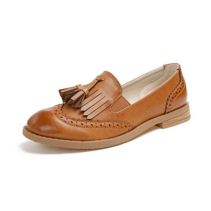 Старинный Кожаный Оксфорд Обувь Для Женщин Мода Кисточкой Круглого Toe Slip-на Женщин Оксфорды Англия Стиль Леди Случайные плоские Оксфорды