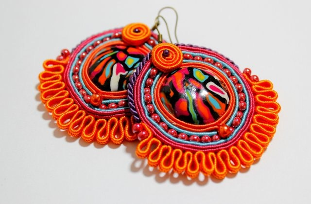 Colorful Ethnic Boho Hand Embroidered Soutache Earrings - Best Valentine's Gift. $35.00, via Etsy.