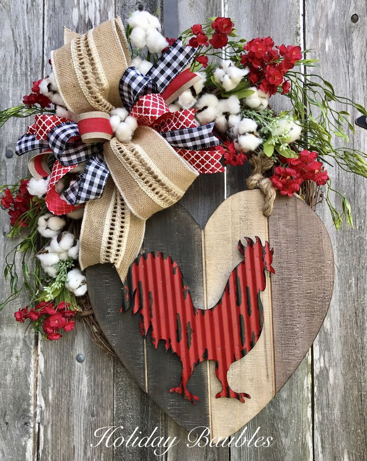 A personal favorite from my Etsy shop https://www.etsy.com/listing/497681260/country-rooster-wreath-country-kitchen