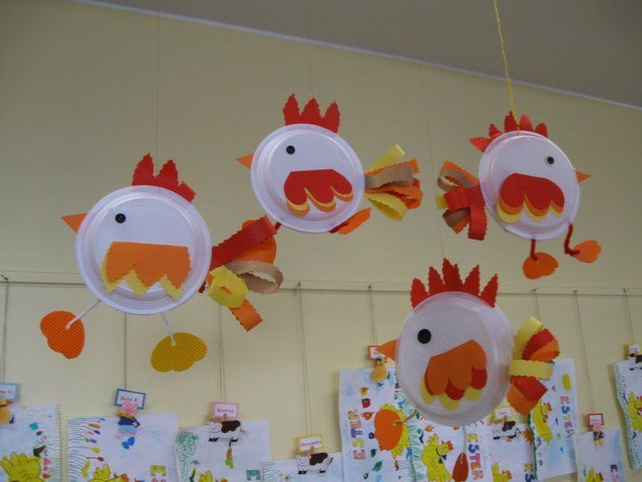 Chickens! could use foam saucers for peeps or momma birds w/large ones and saucers for baby birds-let them paint them