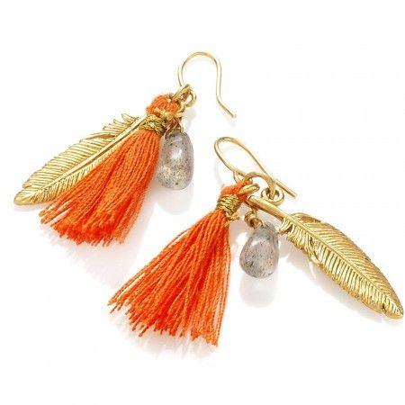 Kolczyki z chwostem i labradorytem.  #feather #pióro #mokobelle #mokobellejewellery #jewellery #earings #gold #kolczyki