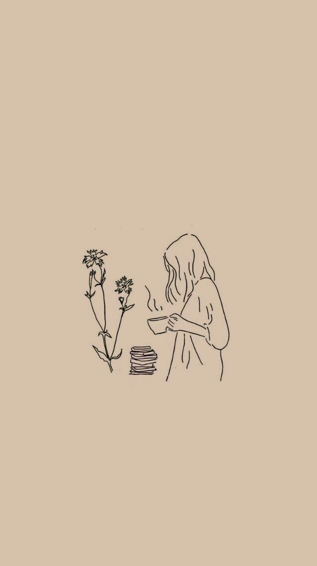 Flower Girl Minimalist Wallpaper Cartoon Wallpaper Line Art Drawings