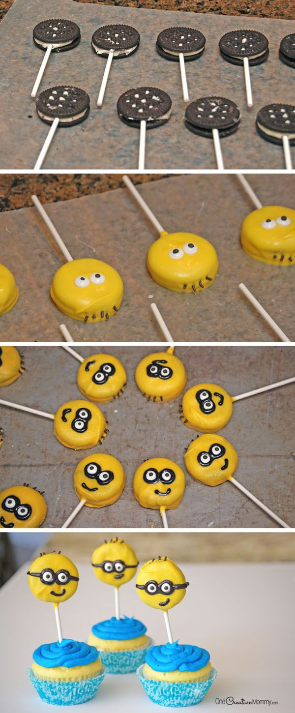 Chocolate Dipped Oreos make these Minion Cupcakes two treats in one! {OneCreativeMommy.com} Fun Minion Party Idea!
