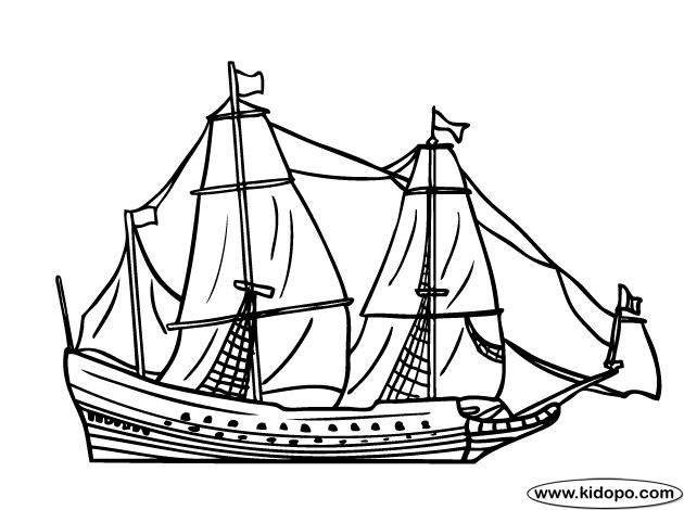 17th century sailing ship 1 coloring page