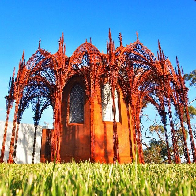 The Chapel at MONA. It's gothic, metal and altogether intriguing. #hobart #tasmania #discovertasmania